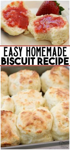 Easy Biscuit Recipe made from scratch in minutes. Perfect soft, flaky texture with fantastic buttery flavor. This will be your new favorite biscuit recipe! Updated with video and expert advice on how to make homemade biscuits. Sour Cream Biscuits, Buttermilk Biscuits, Low Cal, Bread Recipes, Cooking Recipes, Easy Biscuit Recipes, Recipes With Biscuits, Homemade Biscuits Recipe, Homemade Biscuits From Scratch