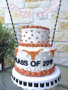 University of Texas, at Austin. Class of Great for grad parties. Cake has burnt orange longhorns. Graduation Party Desserts, Graduation Decorations, Graduation Party Invitations, Grad Parties, Graduation Cake, Texas Longhorn Cake, Texas Cake, Texas Party, My Birthday Cake