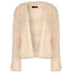 Jane Norman Cropped Fluffy Cardigan ($31) ❤ liked on Polyvore featuring tops, cardigans, cream, cream top, beige top, cream cardigan, beige cardigan and beige crop top