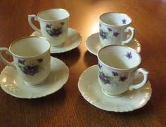 Beautiful 8 pc set of Syracuse China OPCO Violets demitasse cups & saucers #Syracuse