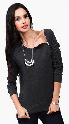 Dark Grey Zip pullover
