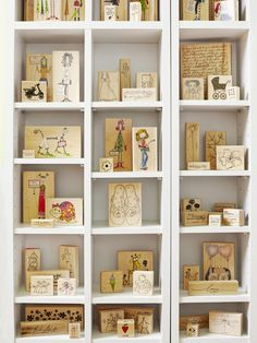 To quickly find stamps, Regina stores wood blocks with their pictures facing out on CD shelves from amazon.com.