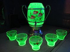 Victorian Vaseline Glass Lemonade stand with 5 cups flower motif paint on Etsy, $320.00