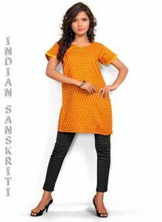 welcoming orange printed cotton #kurti