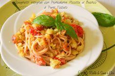 #Spaghetti integrali con #pomodorini #ricotta al basilico e pane tostato Whole wheat spaghetti with tomatoes ricotta and basil