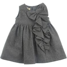 Elsy Girls Grey Wool Dress With Frilly Bow Detail (1,965 MXN) ❤ liked on Polyvore featuring baby, baby clothes, kids, baby girl and baby girl clothes