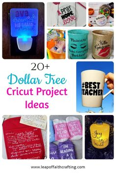 20+ Cricut projects that you can make using Dollar Tree supplies!  Perfect Cricut ideas for budget friendly gifts or things to sell! Dollar Tree Cricut, Dollar Tree Crafts, How To Make Glitter, Glitter Crafts, Leap Of Faith, Vinyl Projects, Cricut Ideas, Dollar Stores, Crafting
