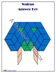 Pattern Blocks Arctic Animals Puzzles by A Thinker's Toolbox #polarbear #walrus #penguin #seal #mathcenters #geometry #fun