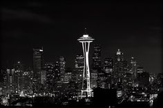 Space Needle Photo Black and White by j2studiosphotography on Etsy, $15.00