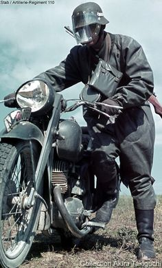 German Motorcycle Messenger in the Eastern Front