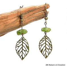 Handmade jewelry, peridot earrings, healing crystal and stones jewelry, handmade dangle earrings, peridot jewelry, leaf bronze earring, wila