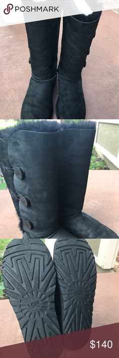 UGG Bailey button triplet size 11 in womens Black color, worn twice, size 11 in women's, still has box, shoes in good condition UGG Shoes Winter & Rain Boots