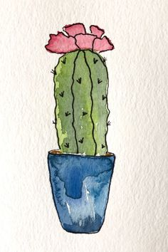 Watercolor Flowers Discover Your place to buy and sell all things handmade Excited to share the latest addition to my shop: ORIGINAL Handpainted Watercolor Cactus Greeting Card I - Succulent Art - Potted Plant Painting - Blank Inside - Cactus Painting, Plant Painting, Watercolor Cactus, Watercolor And Ink, Painting & Drawing, Watercolor Ideas, Watercolor Art Lessons, Cactus Drawing, Simple Watercolor