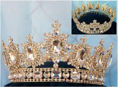 Men's unisex rhinestone Gold full Royal Premium Crown