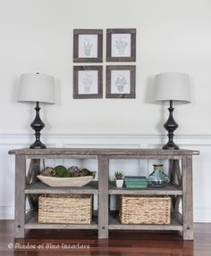 Makeover Monday: X Media Console. The stain is a combo of Minwax Weathered Gray and Special Walnut.