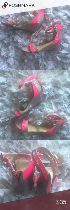 Ankle Strap Sandal Wedges NWT Nude & Neon Pink Dbl Ankle Strap Sandal Wedges//Never Worn//No box. Shiekh Shoes Sandals