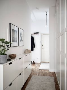 """Very pleasant century tree with its own patio and quiet courtyard in the middle of Linné - Stadshem - Ikea """"Ställ"""" shoe cabinets are perfect for narrow entryways Shoe Cabinet Entryway, Entryway Decor, Entryway Lighting, Ikea Hall, Hallway Lamp, Flur Design, Ikea Design, Narrow Entryway, Bedroom Cabinets"""