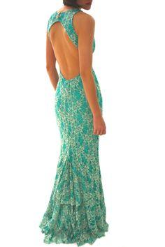 Vestido Largo Turquesa con Encaje y Espalda Abierta 59.90€ en www.carmenenlasarenas.com Vestidos de Fiesta