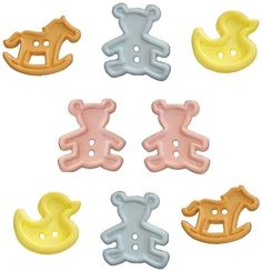 "Amazon.com: Fancy & Decorative {Assorted Sizes 25 - 32mm w/ Two Holes} 8 Pack of ""Flat"" Sewing & Craft Buttons Made of Acrylic Resin w/ Unique Baby Inspired Chunky Toys w/ Teddy Bear Design {Assorted Colors}"