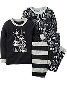 Carters Baby Clothing Outfit Boys 4-Piece Glow-In-The-Dark Cotton PJs Woodland Friends