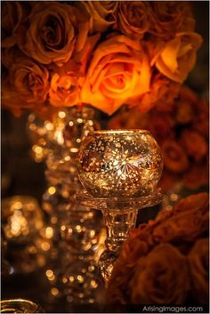 Mercury Glass and Roses: Make your home glow with candlelight in beautiful holders! Orange Braun, Color Cobre, Romantic Candles, Beautiful Candles, Candle Lanterns, Candle Lighting, Candle Centerpieces, Glass Candle, Orange Crush