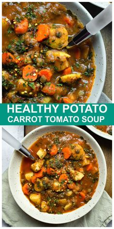 Healthy Potato Carrot Tomato Soup is vegan and just the soup you need when you are craving a healthy, hearty and plant-based soup full of whole food ingredients and using what you already have on hand. It is full of veggies, naturally gluten-free, oil-free and low-fat! #vegan #vegetarian #plantbased #soup #fall #carrot #tomato Healthy Hearty Soup, Healthy Potato Soup, Healthy Potatoes, Healthy Soup Recipes, Whole Food Recipes, Cooking Recipes, Potato Soup Vegetarian, Vegan Bean Soup, Low Fat Vegetarian Recipes