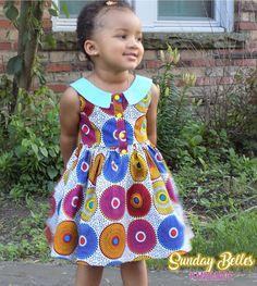 Girls Sunburst Ankara African Print Dress Ethnic Fabric Gathered Skirt Colorful with Collar Wedding Special Occasion Pageant Outfit Baby African Clothes, African Dresses For Kids, African Wear Dresses, Latest African Fashion Dresses, Little Girl Dresses, Ankara Styles For Kids, African Fashion Traditional, African Print Dress Designs, Kids Dress Wear