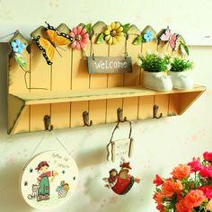$23 ZAKKA Retro Old Wooden Yellow Wall Shelves Entrance Living Room Coat  Rack Hooks Home Decor