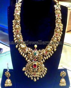Jewellery Designs: Antique Floral Set by Suraj Bhan Jewels