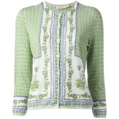 TORY BURCH botanical print cardigan (€175) ❤ liked on Polyvore featuring tops, cardigans, outerwear, floral tops, 3/4 length sleeve tops, three quarter sleeve cardigan, tory burch and tory burch cardigan