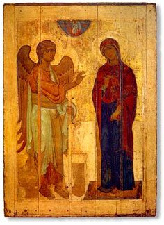 The Annunciation of Ustyug. Unknown artist, c.1120–1130, Wood, tempera, 238 cm × 168 cm. ( one of the few icons which survived the Mongol invasion of Rus). The State Tretyakov Gallery