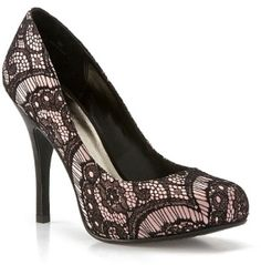 lacy heels | Black and White Lace Vanessa Wedding Shoes Coolest Wedding Shoes for ...