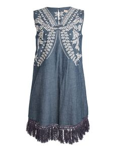 Elle Sasson Gulper Embroidered Denim Dress Floral embroidered chambray denim dress with fringe detail and open back V-neckline with floral embroidery Sleeveless with wide shoulder coverage Fringed hem hits above the knee Split open back with hook and eye top closure Relaxed silhouette 100% cotton