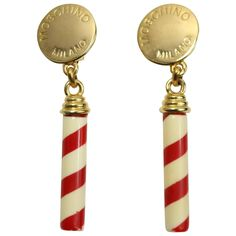 Moschino Candy Cane Earrings | From a unique collection of vintage clip-on earrings at https://www.1stdibs.com/jewelry/earrings/clip-on-earrings/