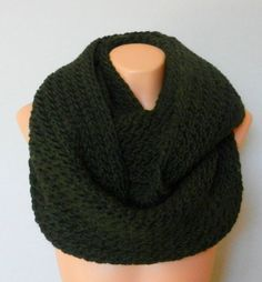 Knitted infinity scarf - Dark green infinity scarf - Hand Knitted Tube scarf -Circle Scarf - head wrapped scarf winter accessory on Etsy, $35.00