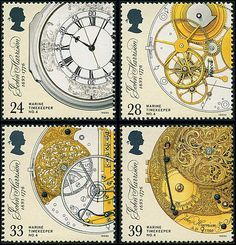 """John Harrison, the inventor of the marine chronometer, was commemorated by this elegant four-stamp set on the 300th anniversary of his birth. Harrison made three large chronometers, all preserved in the National Maritime Museum, but it was his fourth, H4, which was the pinnacle of his achievement and is illustrated on all four stamps. (Photo: Ian Ridpath) """"Royal Observatory Greenwich"""" http://www.bellaonline.com/articles/art31803.asp"""