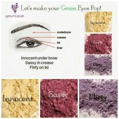 Make your green eyes pop using Younique's Moodstruck Mineral Pigments in innocent, sassy, and flirty. For a bolder look yet swapping flirty with glamorous or royal! You can find these products and more at  www.lashesbybrooke.com