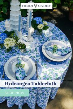 Elevate any table with my scalloped tablecloth. The hydrangea pattern is a custom block print, and elegantly accented by navy scalloping. This set makes a wonderful gift for any occasion. These 100% cotton are handmade in India, machine washable, and available in both rectangle and round sizes. Discover more beautifully handmade houseware items on my profile! #tablecloth #cotton #homeware #tablesetting #entertaining #heidicarey Summer Flowers, Blue Flowers, Table Setting Inspiration, Indian Block Print, Beautiful Table Settings, Blue Hydrangea, Cotton Napkins, Elegant Table, Home Accents