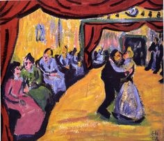 """Village Dance Erich Heckel (German, Oil on canvas. Heckel """"stages the villagers' dance in the manner of a play."""" """"Viewed as if from the wings, the unusual sense of depth is. Emil Nolde, Karl Schmidt Rottluff, Expressionist Artists, Neo Expressionism, Chinese Contemporary Art, Dance Paintings, Partner Dance, Ludwig, Expressions"""