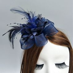 Feather / Net Fascinators / Flowers / Hats with Feathers / Fur / Floral Wedding / Special Occasion Headpiece Feather Headpiece, Headpiece Wedding, Headdress, Bridal Headpieces, Blue Fascinator, Party Accessories, Hair Accessories, Accessories Online, Sombreros Fascinator