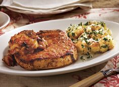 Pork Chops and Bacon Caramelized Onion Jam With Alfredo Potatoes Recipe from #PublixAprons