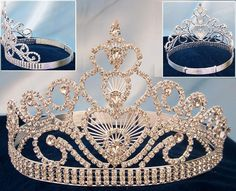 Genuine crystals give this crown a beautiful sparkle! Crown front is approx. high at the highest point and graduates down to high at the shortest point (on the sides). Adjustable band for eas Royal Crowns, Royal Jewels, Tiaras And Crowns, Crown Jewels, Bridal Crown, Bridal Tiara, Pageant Crowns, Diamond Crown, Queen Crown