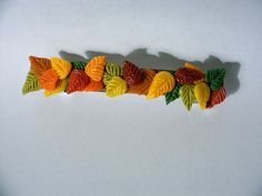 Handmade Barrette with Polymer Clay Autumn Leaves- Beautiful Accessory