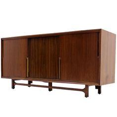 Walnut Danish Mid Century Modern Credenza w/ Sliding Doors 12 Drawers Brass Pull | 1stdibs.com