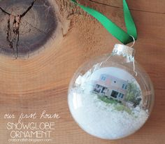 Miniature Our First Home Snowglobe Ornament #DIY #Christmas | crab+fish