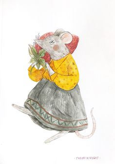 Felt like drawing a mouse friend 🍓🐭 Children's Book Illustration, Character Illustration, Animal Illustrations, Cat And Dog Drawing, Airplane Painting, Animal Sketches, Knight, Character Design, Cute Animals