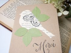 Thank You Note  Handmade Little French Bird Merci by newnanc, $3.95