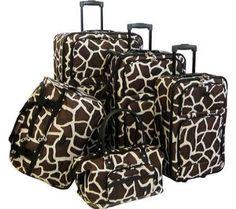 Amazon.com: American Flyer Animal Print 5-Piece Luggage Set (Giraffe Brown): Clothing