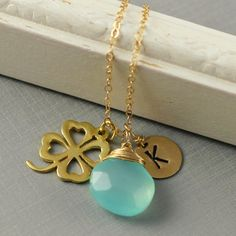 Shamrock Necklace, Personalized Bridesmaids Gift, Initial,  Birthstone Necklace, Heart Leaf, Aqua Blue Chalcedony, Mom Necklace. $39.00, via Etsy.