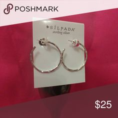Silpada sterling silver hammered hoops Brand new never worn. Very pretty and shiny. Perfect to dress up or down. Little larger than a fifty cent piece. Quality jewelry. Don't miss out Silpada Jewelry Earrings